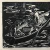 "Marie Bleck (American, 1911 – 1949), ""Muskie Fishermen,"" 1937.  Linoleum block print on rice paper.  Georgia Museum of Art, University of Georgia; Transferred from the University of Georgia Libraries"