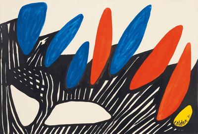 Alexander Calder.  Dolmens, 1971.  Gouache and ink on paper.  29 1/2 x 43 1/8 in.  (74.9 x 109.5 cm).  © 2020 Calder Foundation, New York / Artists Rights Society (ARS), New York.  Courtesy of Zeit Contemporary Art, New York