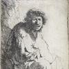 Rembrandt van Rijn, A Beggar Seated on a Bank, 1630.  From the John Villarino Collection.  Estimate $20,000 to $30,000.