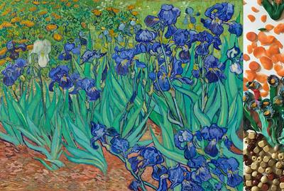 Irises, 1889, Vincent Van Gogh.  Oil on canvas, 29 1/4 × 37 1/8 in.  The J.  Paul Getty Museum, 90.PA.20.  Re-creation via Twitter DM by Cara Jo O'Connell and family using Play Doh, carrot slices, and wooden beads