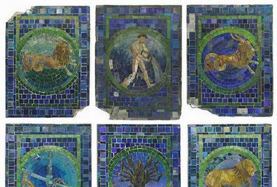 Collection of six Tiffany Studios glass zodiac panels from the Marshall Field & Company Men's Grill, depicting Aquarius, Libra, Leo, Cancer and two Capricorns (est.  $100,000-$120,000).