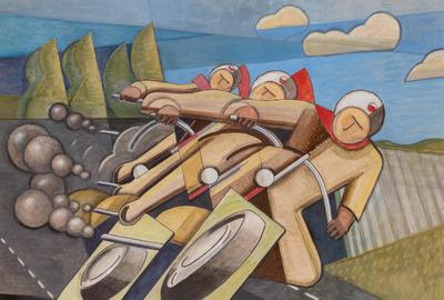 Bela de Kristo (Hungarian, 1920-2006), Le Motards, 1952, Oil on board, 19 3/4 x 25 1/4 inches.  Est.  $3,000-5,000.  Lot 39.