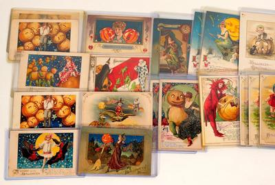 Group of about 19 Halloween cards, with artwork by John Winsch, one of the finest artists of the early postcard period, circa 1905-1010 ($1,562).