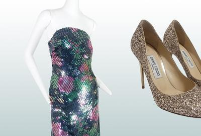 This fashionable trio consisting of a Scaasi Boutique sequined strapless dress, Jimmy Choo glitter pumps, and Chanel beads reflects the variety and high quality of designer goods hand-chosen for Space Lace's Dec.  4 online-only auction through LiveAuctioneers.