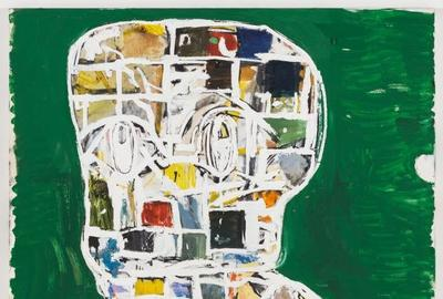 Large, untitled double-stack Blockhead painting by Eddie Martinez (Conn., N.Y., b.  1977), 72 inches by 60 inches, done using oil paint, spray paint and enamel (est.  $150,000-$250,000).