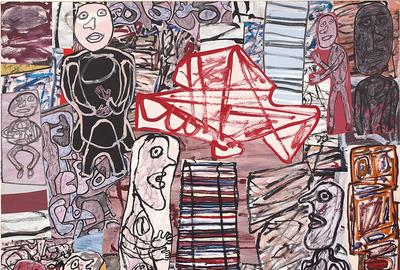 Jean Dubuffet La féconde journée, 16 May 1976 acrylic on paper collaged on canvas 204.5 x 210.5 cm (80 1/2 x 82 7/8 in.) Estimate: £2,000,000-3,000,000