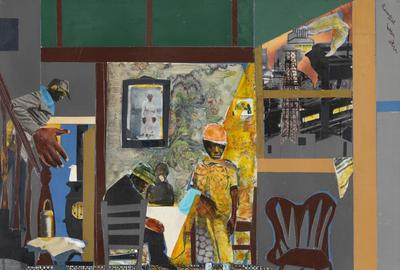 Romare Bearden (1911–1988), United States, Profile/Part I, The Twenties: Pittsburgh Memories, Mill Hand's Lunch Bucket, 1978, collage of cut paper and fabric with watercolor, graphite pencil, gouache, and felt-tip pen on Masonite, Cincinnati Art Museum; Museum Purchase: The Edwin and Virginia Irwin Memorial and the John J.  Emery Endowment, 2011.7.  © Romare Bearden Foundation/VAGA at Artists Rights Society (ARS), New York