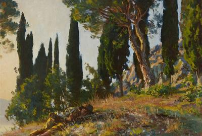 Offered by Christie's in Private Sales online, John Singer Sargent (1856-1925) Cypresses and Pines, signed 'John S.  Sargent' (lower right) oil on canvas, 28 x 36 in.  Painted in 1913.  Price on request.