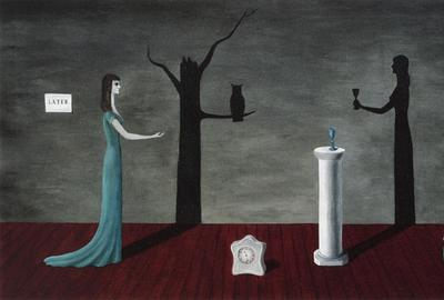 GERTRUDE ABERCROMBIE (American, 1909–1977) Strange Shadows (Shadow and Substance), 1950.  Oil on canvas, 211⁄4 × 35 in.  Private Collection, courtesy Richard Norton Gallery Photo: © James Prinz Photography, Chicago