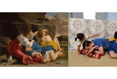 Lot and His Daughters, about 1622, Orazio Gentileschi.  Recreation on Twitter by Qie Zhang, Erik Carlsson, and their daughters.  Part of the Getty's challenge on social media, #betweenartandquarantine and #tussenkunstenquarataine.