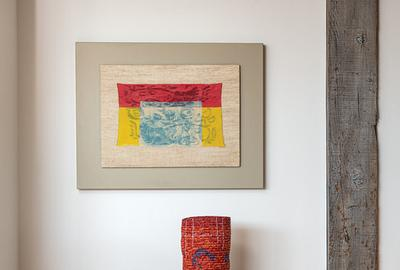 Ed Rossbach Turkish Embroidery Red Yellow Blue, 1972 (top) Katherine Westphal, Ritual, 1999 (bottom)