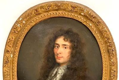 Oval 18th century French School oil on canvas portrait of a gentleman, relined, with a canvas size of 28 ½ inches by 23 inches (est.  $4,000-$6,000).