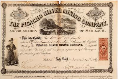 Rare, possibly unique stock certificate for the Picacho Silver Mining Company of Arizona, dated March 12, 1866 for 120 shares, issued to Wm.  W.  Shepard, with signatures (est.  $2,000-$3,000).