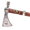 Extremely important and fine silver-mounted and inlaid presentation pipe tomahawk signed 'R.  (Richard) Butler' and inscribed to Lt John Maclellan (sic.).  Extensively exhibited, including at The Smithsonian and The Tower of London.  Depicted on cover of 'Indian Tomahawks & Frontiersman Belt Axes,' and in several other respected reference books.  Sold for $664,200.  Morphy Auctions image