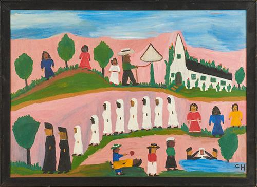 Lot 1034: Clementine Hunter Cane River Baptising $4,000 - 6,000 Rago Auctions