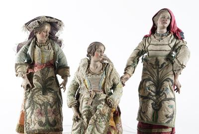 Three 19th century Neapolitan Polychrome Wood and Terracotta Noble Ladies