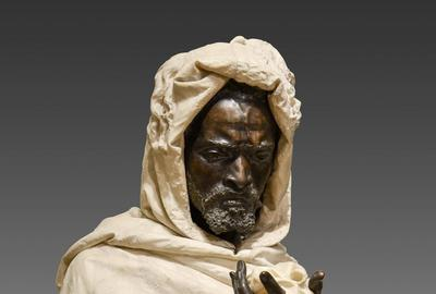 Museum-quality marble and bronze depiction of Othello by Pietro Calvi (Italian, 1833-1885), executed in Milan circa 1870, 36 inches tall, with original handkerchief (est.  $60,000-$80,000).