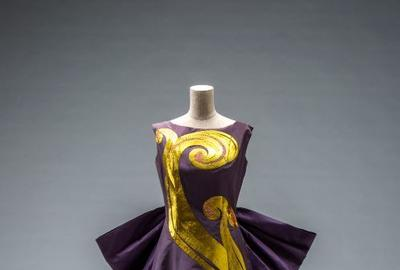 Toshiko Yamawaki (1887–1960), Japan, Evening Dress with Wave Motif, 1956, silk taffeta with gold-thread embroidery, Collection of The Kyoto Costume Institute, Inv.  AC12555 2011-8-35AB, Gift from Yamawaki Fashion Art College, photo by Takashi Hatakeyama