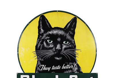 Black Cat Cigarettes porcelain sign (Canadian, 1940s), 50 ½ inches by 48 inches, one of the most attractive porcelain signs in Canadian advertising history (est.  CA$9,000-$12,000).