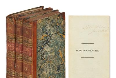 Jane Austen, Pride and Prejudice: A Novel, three volumes, first edition, London, 1813.  Estimate $20,000 to $30,000.