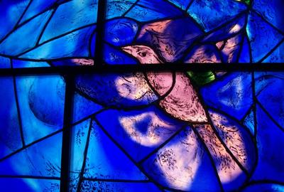 Detail: Marc Chagall, America Windows, 1977.  Art Institute of Chicago