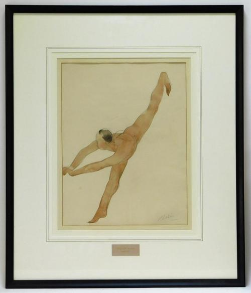 "Watercolor nude study by Auguste Rodin (French, 1840-1917), of a woman standing on one foot and leaning forward with her other leg in the air, signed ""A. Rodin"" (est. $10,000-$15,000). Bruneau & Co. Auctioneers"