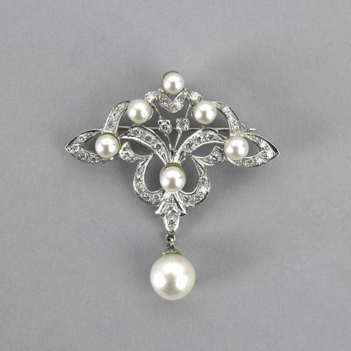 f05688b0e6a No Reserve Jewelry, Silver, Couture Auction, April 22, Lot 2073, Art  Nouveau Style Diamond and Pearl Pendant Brooch, $600-800 Rago Arts and  Auction Center