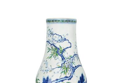 Lot 91, Qing, A Fine Doucai 'Three Friends' Bottle Vase.  Estimate $30,000 - $40,000.