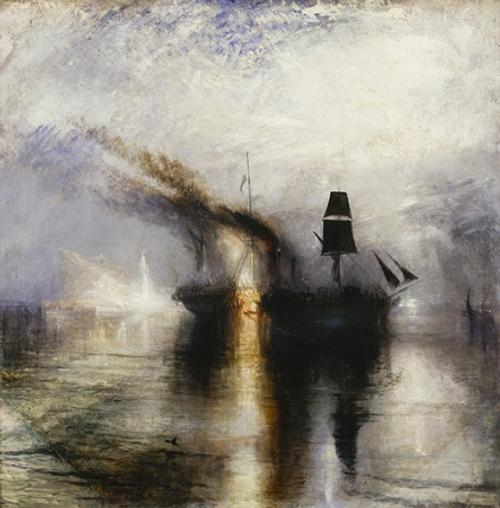 Image result for J.M.W. Turner (1775 – 1851 ). Peace — Burial at Sea , exhibited 1842. Oil on canvas, 34 1/4 x 34 1/8 in.  Tate: Accepted by the nation as part of the Turner  Bequest 1856. Photo © Tate, 2019