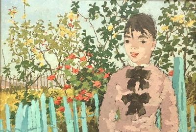 Oil on canvas painting by Suzanne Eisendieck (German/Polish, 1908-1998), titled Jardin à Sirole, 18 inches by 22 inches (est.  $1,000-$1,500).