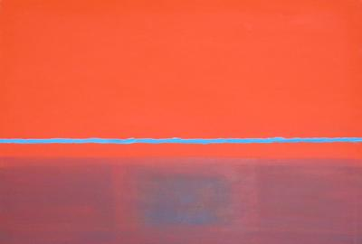 "Angelo Ippolito, ""NI (Blue Horizon Line)"", oil on canvas, 55 x 49, 1984"