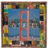 Lot 94 Faith Ringgold, Double Dutch on the Golden Gate Bridge, story quilt from the artist's Woman On a Bridge series, 1988.  Estimate $150,000 to $250,000.