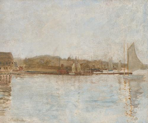 Lot 73 – John Henry Twachtman (American, 1853-1902), A View of Greenwich Harbor, oil on board, signed, 15 1/2 x 18 1/4 inches, estimate: $20,000-$30,000.
