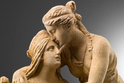 detail: Rinaldo Rinaldi (1793-1873), Peace and Justice Embracing, ht: 56 cm, 1845, terracotta, Walter Padovani