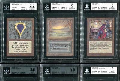 Early Magic: The Gathering cards from 1993, the complete Alpha set, with many BGS-graded examples, sold as one lot ($423,750).