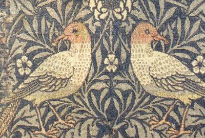 Framed Sample of 'Bird' textile, designed by William Morris, 1878.