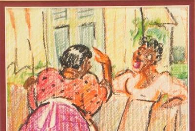 Crayon on paper illustration by Lois Mailou Jones (Mass./Haiti, 1905-1998), 8 ¾ inches by 6 ½ inches (sight), of two women doing chores and gossiping over a fence (est.  $2,000-$3,000).