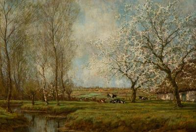 Arnold Marc Gorter (Dutch, 1866–1933), Farm with Blooming Apple Trees, n.d.  Oil on canvas, 22 1/2 x 32 1/2 in.  Crocker Art Museum, gift of the Beekhuis Family Foundation, 2019.117.30
