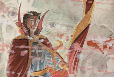 Dan Green original artwork for the graphic novel Doctor Strange: Into Shamballa, a beautiful single panel watercolor featuring Dr.  Strange in Shamballa, circa 1986 (est.  $1,000-$1,500).
