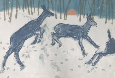 "Paula Schuette Kraemer, ""Crossing Paths"", etching, monotype on paper, 17.75 x 23.5 inches"