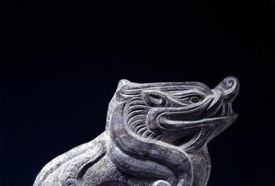 A Gray Limestone Guardian Beast (Lu Duan) Song Dynasty (960-1279) Height 10 1/4 inches (26 cm)