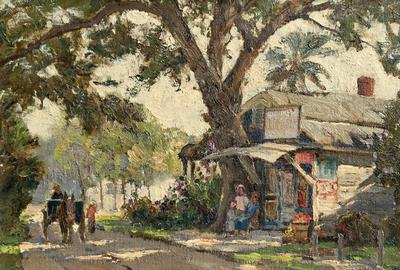 Market fresh oil painting by Anthony Thieme (Dutch, 1888-1954), titled The Old Shop, St.  Augustine, in pristine condition.