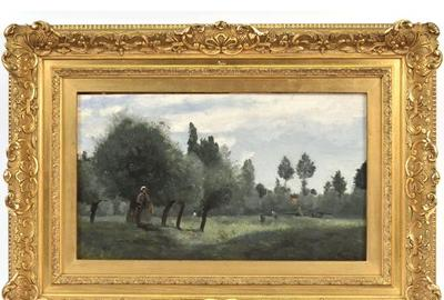 Jean-Baptiste Corot (French, 1796-1875) will be represented in the sale with a captivating oil on canvas on panel painting titled Prairies sur le bord de la scarpe, pres Arras.