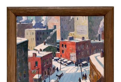 Oil on canvas by Carl Peters (American, 1897-1980), titled Elm Street, Rochester, NY, circa 1930, artist signed (lower left), 40 inches by 32 inches.  (est.  $15,000-$25,000).