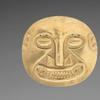 Ornament from Sitio Conte: Small Plaque c.  400-500.  Panama, Conte style, 5th - 10th century.  Hammered gold.  9.3 x 10 cm (3 11/16 x 3 15/16 in.) The Norweb Collection 1951.155