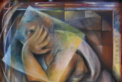 "Dickens Chang's oil on canvas, ""The Waiting Game"" ($5/7,000), 1987, 30 by 24 inches, is among the featured paintings."
