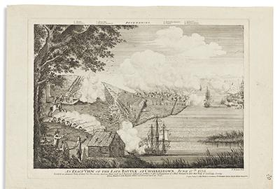 Bernard Romans, An Exact View of the Late Battle at Charlestown, June 17th, 1775, engraving, 1776.  Estimate $40,000 to $60,000.