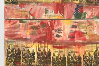 DETAIL: Jaune Quick-to-See Smith, I See Red: Target, 1992, mixed media on canvas, National Gallery of Art, Washington, Purchased with funds from Emily and Mitchell Rales, 2020.6.1