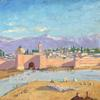 """The Tower of Katoubia Mosque"" painted by Winston Churchill and given by him to president Franklin D.  Roosevelt to commemorate the pair's trip to Marrakech following the 1943 Casablanca Conference."