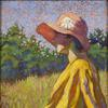 Grace Cochrane Sanger (1885-1966) The Red Cloche.  Oil on canvasboard, 20 x 16 inches.  Signed lower left
